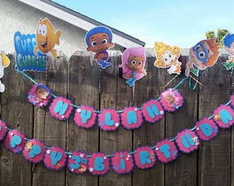 Bubble Guppies Banner,happy birthday banner, bubble guppies decorations party