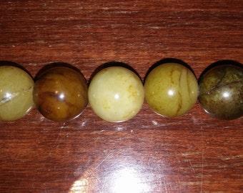Jade beads round jade beads green beads focal beads 16mm round beads brown beads olive green beads