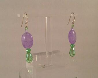 dangle pale purple and green  glass earrings