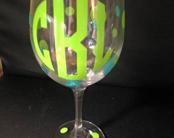 Personalized Monogram Wine Glass Polka Dots Wedding Birthday Gift Bride Bridesmaid Groom Groomsman BFFs