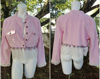 TT-Romantic Bohemian love-Womens Altered Couture jacket-SizeXL-Shabby-Country-Hippie-Peace-Remade fashion-Teen-School fashion-Roses-Lace