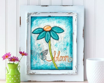 Teal Daisy Art Print. Bloom Wall Art. Mixed Media Art. Flower Print. Inspirational Decor. Mother's Day Gift. Gift for Mom. Gift for Her.