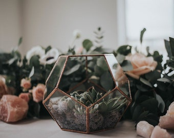 Terrarium, Glass terrarium, copper wedding centrepiece for candles and fairylights ,copper dodecahedron , succulent geo planter,