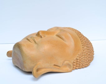 Hand Carved Wooden Buddha Mask - Vintage Thai Carved Wood Wall Hanging - Teak Wooden Wall Art