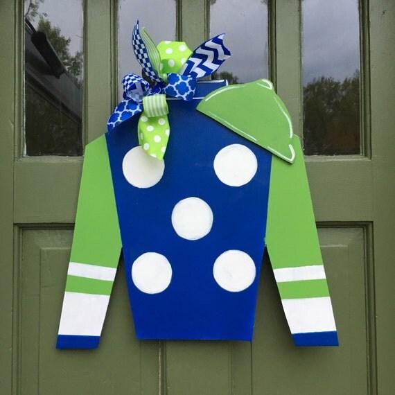 Polka dot jockey silks door hanger