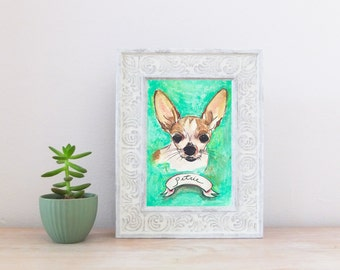 Chihuahua CUSTOM Pet Portrait Illustration Watercolor