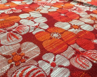 Vintage 70s fabric 50x120cm flowers red