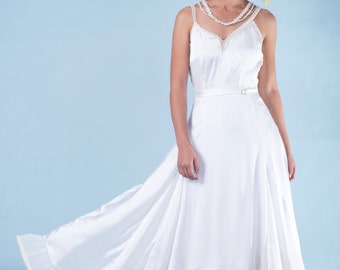 White silk gown, Wedding Dress, gown with rhinestones, long white dress, dress with pearls, Maxi Wedding Dress,