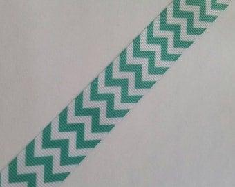 """5yd Teal Blue White Chevron Zigzag Print 7/8"""" 22mm hair bow supplies ribbon grosgrain printed scrapbook"""