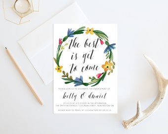 Watercolor Printable Engagement Party Invitation, The Best is Yet to Come, Printable Engagement Party Invite, They're Engaged!