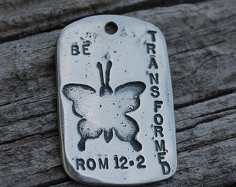 Be Transformed, MyGodTags, Christian, Butterfly, Amen, Sterling Silver