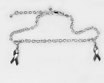 Show support for your cause! / ankle bracelet enhanced by two removable Awareness Ribbon charms / 925 sterling silver ankle bracelet