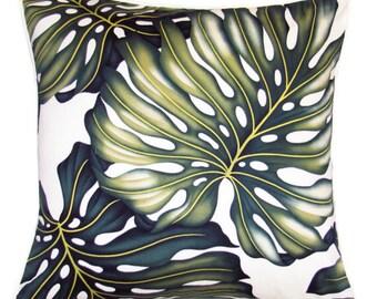 Monstera Leaf Tropical Cushion Designer Beach Chic Coastal Beach Island Polynesian Hawaii Fabric Home Decor Homewares