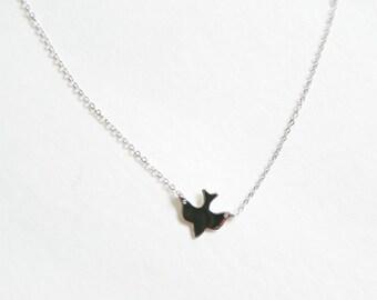Dove Necklace, Bird Necklace, Soar Bird, Simple Bird Necklace, Gold Silver Dove Bird, Delicate Layering Necklace, Side Hanging Necklace