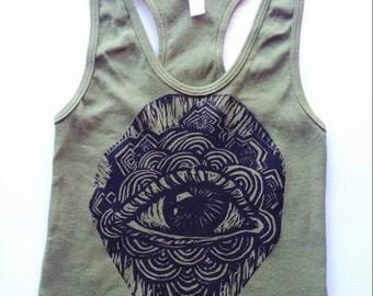 Trippy Eyeball Art Hand Printed Woodblock Olive Festival Racerback Crop Top Size L