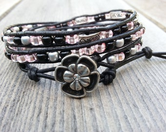 Pink, Black and Silver Leather Beaded Triple Wrap Bracelet FREE SHIPPING