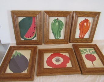6 Vegetable Silkscreen Prints, by Lesikin,
