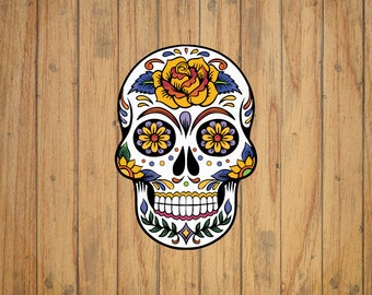 Sugar Skull with Yellow Flower Decal/Sticker
