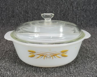 Vintage Fire-King 10 2Qt. Milk Glass Covered Casserole W/ Clear Lid Wheat Motif