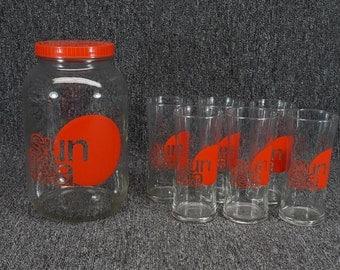 Vintage Sun Tea 6 Glass And Gallon Jar Set