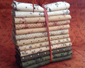Country christmas fat quarter bundle by Primitive Gatherings from Moda