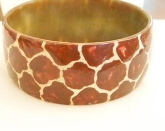 Chunky Wide Rust Brown Cream Animal Print Lucite Bangle Bracelet