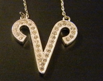 Silver Tone  Clear Crystal Initial Letter V Necklace