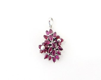 Genuine Natural Ruby Flower Cluster Sterling Silver Pendant