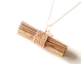 The BUNDLE of STICKS -- necklace with miniature bundle of straw sticks, plaited cotton by All Things Natural