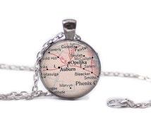 Auburn Alabama Necklace Map Jewelry Travel Necklace Auburn Map Necklace Auburn College University Necklace  Auburn Keychain
