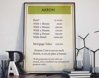 Board Game Wall Art| Akron| Monopoly Poster| Monopoly| Board Game Gift| Monopoly Print| Monopoly Art| Monopoly Decor| Board Game Poster