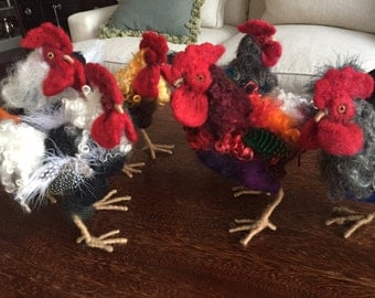 Needle felted Rooster with many Colors