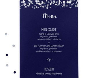 Navy printed wedding menus