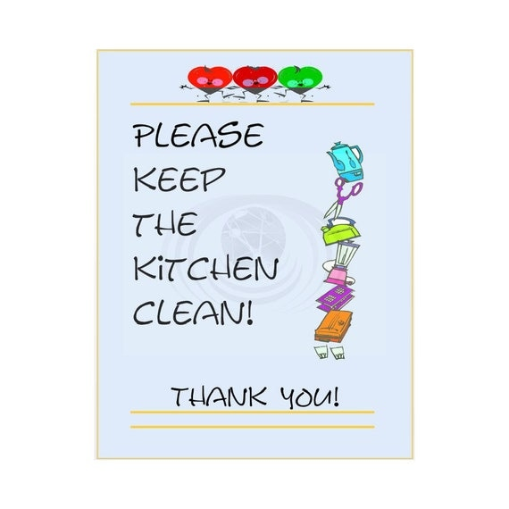 Keep kitchen clean poster sign printable instant by for How to keep the kitchen clean