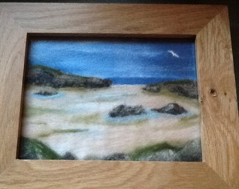 Needle felted picture, felting, wool, oak frame, gift, seascape, one of a kind, handmade