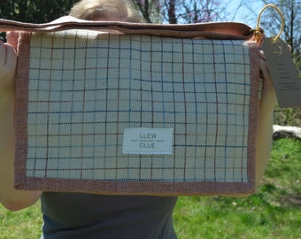 Messenger bag. Rusty pink messenger bag with cream plaid flap. One of a kind messenger. Up cycled fabric messenger bag. Designer messenger