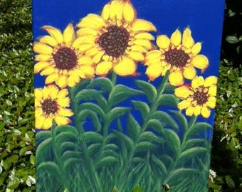 """Sunflowers In The Garden""""  Acrylics On Canvas One Of A Kind"""