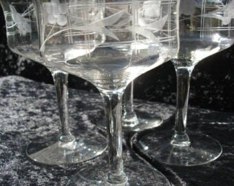 Set of (4) vintage cut glass stemware -  champagne