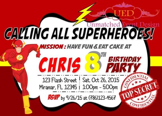flash invitation superhero invitation flash birthday