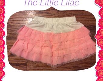 Pink & White Girls Ruffle Skirt 12 months - 4 years