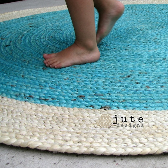 Items Similar To Aqua Teal Round Jute Rug On Etsy