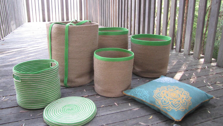 Handmade Jute Baskets : Green handcrafted jute baskets
