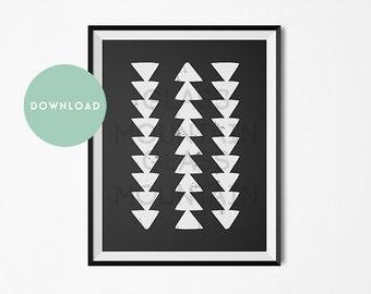 White Arrows Modern Black White Print Tribal Boho Hippie Scandinavian Minimal Printable Download Home Decor