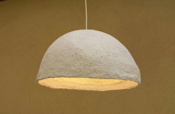 Paper mache pendant industrial lamp paper mache lamp papier for Make paper mache lamp shade