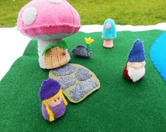 Playset Gnome toy felt playscape OOAK