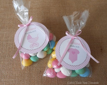 12 tags customized for christening, Baby Shower...