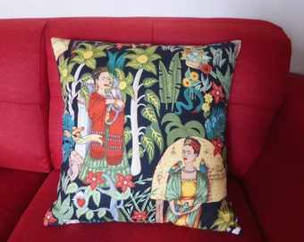 Large Frida Kahlo Cushion Cover | Frida | Upholstery Black | Frida's Garden | Handmade in Australia