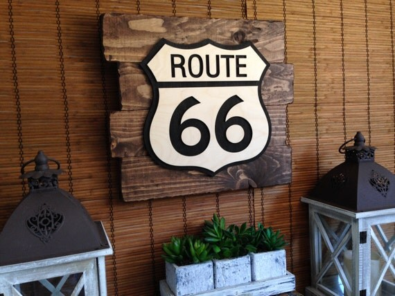 wall art route 66 home decor rustic decor wood wall art. Black Bedroom Furniture Sets. Home Design Ideas