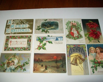 lot of 10  vintage Christmas Post Cards 1909-1910