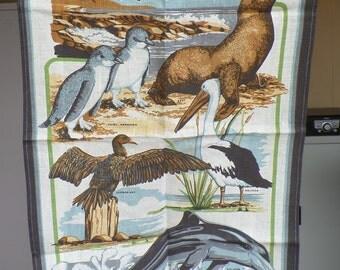 Vintage Australian Souvenir tea Towel. New. linen